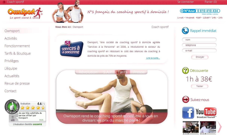 Page d'accueil du site Ownsport, 1er coach sportif à domicile en France