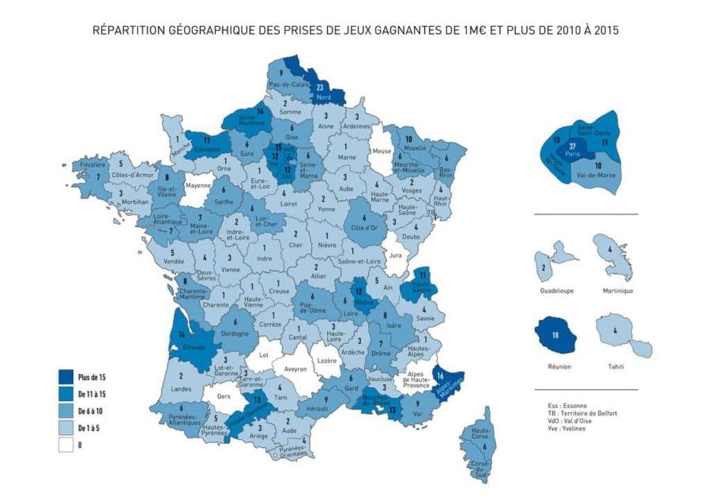 Carte de la répartition par département français des gagnants au loto.