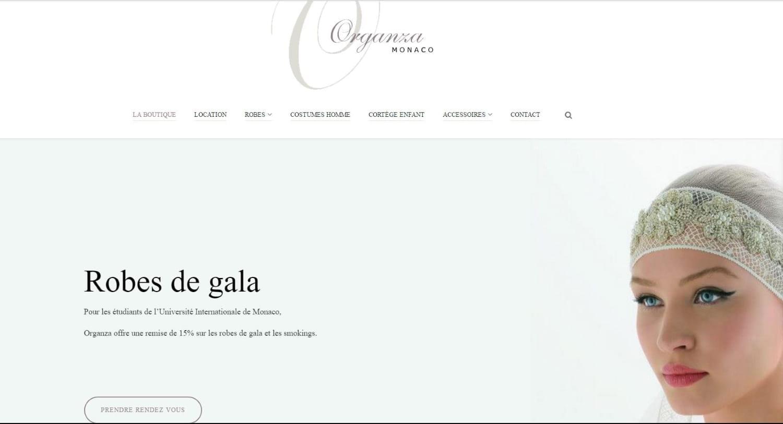 Page d'accueil du site internet d'Organza.