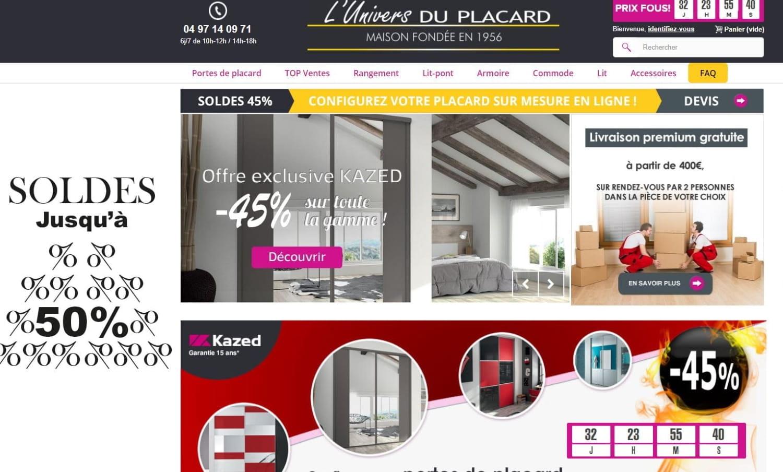 Capture d'écran de la page d'accueil du site l'Univers du Placard.