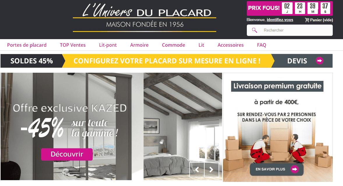Page d'accueil du site l'Univers du Placard.