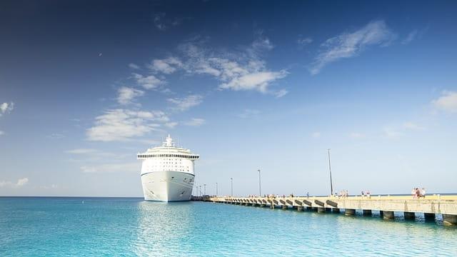 Navire de croisière de luxe accosté au port.